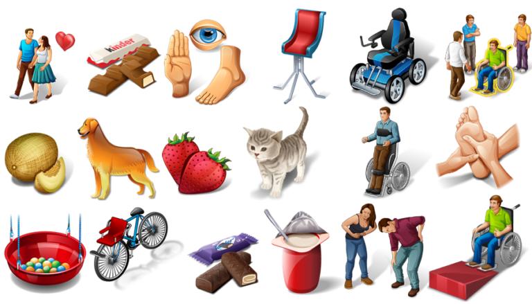 Kommunikation für Menschen mit Behinderungen mit Hilfe von Symbolen